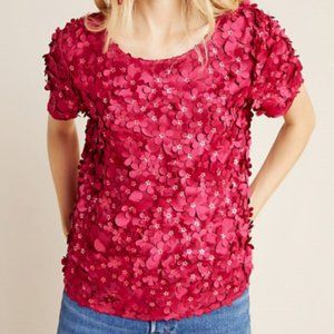 Red Varun Bahl Textured Blouse (NWT)